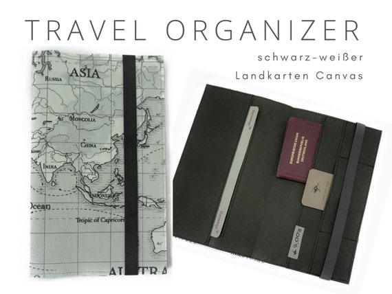 Black and White Travel Case | Travel Organizer Map | Document folder | Gift for Globetrotter | Passport Case | Washable Paper