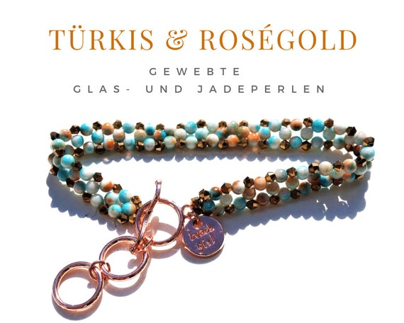 Woven Bracelet | Pearls | Jade | Faceted Glass Beads | Turquoise Rose Gold | Gag Closure with rings | Jade Beads