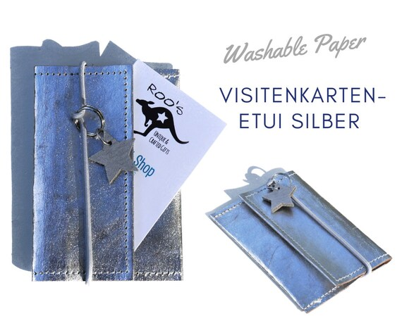 Business Card Case | Silver | Washable paper | Pencil for Businness Cards | With ribbon and leather star Pendant