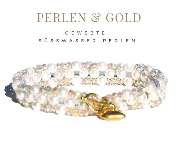 Woven Bracelet | Real Freshwater Pearls | White gold | Wedding Party | The Bride | Gag Closure | Heart | Trailer | Pearl Bracelet