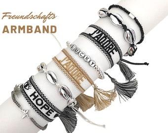 J'ADORE | HOPE | Friendship bracelet | Mother's Day | Web bracelet | woven bracelet | Tassels | white black brown