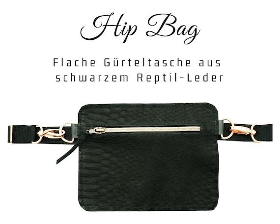 Black hip pocket | Flat belt bag in leather | Snakes reptile embossing | Belly ash | Cross Body Leather Bag | Hip Bag with Belt