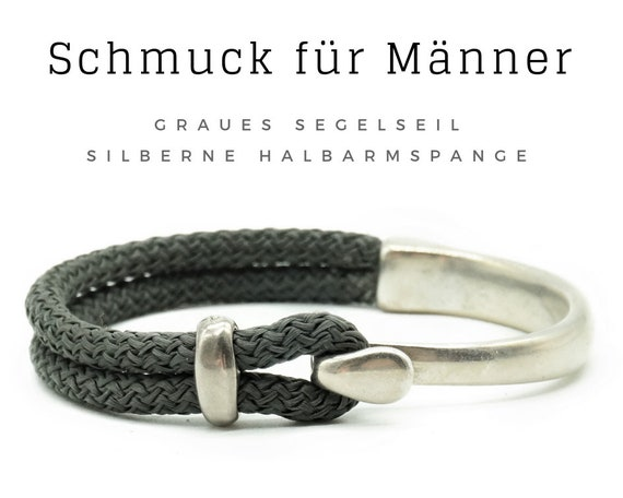 Bracelet for Men | Grey sail rope with halble brace | Maritime Men's Jewelry | Men's bracelet | Paracord | Rope | Tau | Grey silver