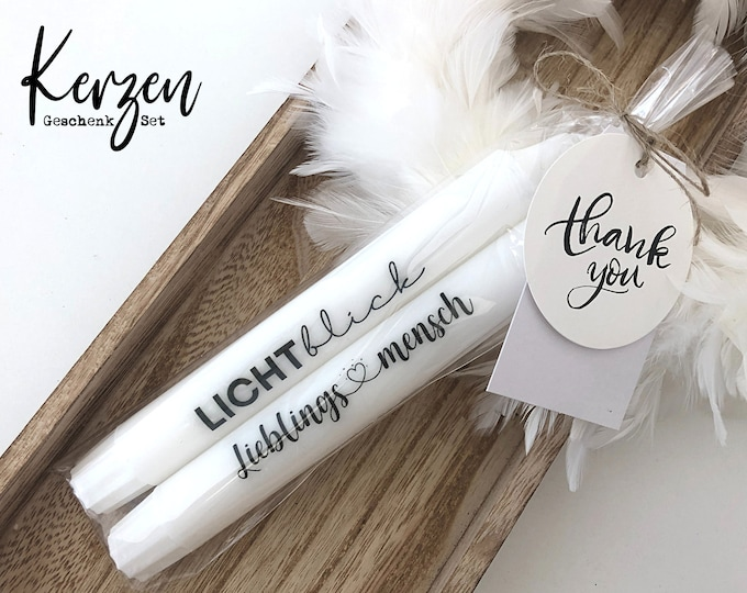| candles with message | two stick candles A ray of hope | Favorite person | black and white | incl. greeting cards | Statement Candles in a Gift Set