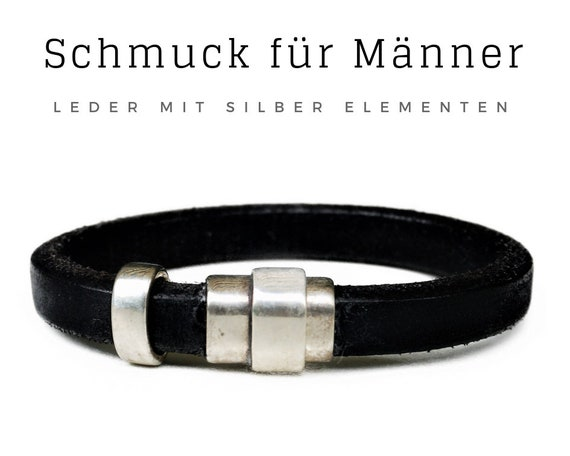 Bracelet for Men | Black Leather Bracelet | Silver PLATED Elements | Magnetic Closure | Robust | Distinctive | Men's Jewelry | Men's Bracelet