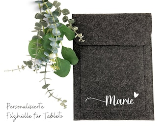 Personalized felt cover | Tablet | iPad | Case | Folder made of grey felt | labeled with name