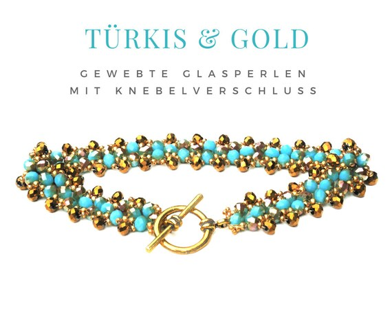 Woven Bracelet | Pearls | Faceted Glass Beads | Turquoise Gold | Golden Gag Clasp