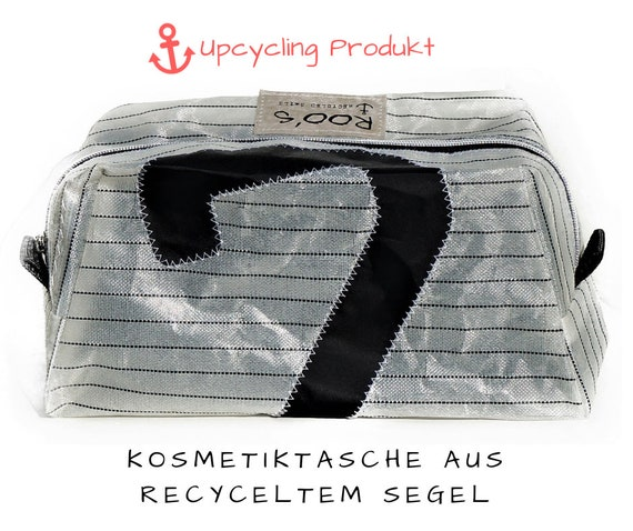 Kulturtasche | Original Segel | Kosmetiktasche | schwarz weiß | Upcycling | Schminktasche | Reise Necessaire | Segeltasche | Surfsegel