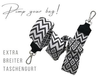 Extra-wide ethno strap for handbag | 5 cm wide | Crossbody Bag | XXL Belt | adjustable | Replacement belt | black white woven