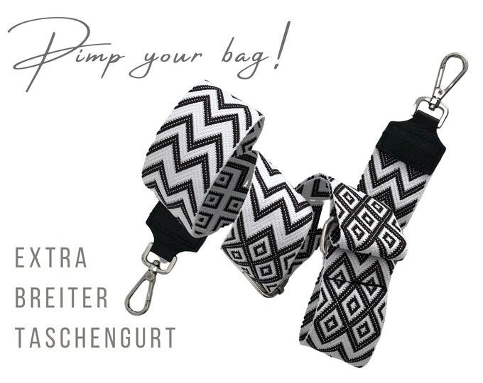 Extra-wide ethno strap for handbag   5 cm wide   Crossbody Bag   XXL Belt   adjustable   Replacement belt   black white woven