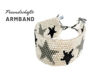 Wide woven beaded bracelet | Miyuki Beads | black white grey stars | Tassels | Gift Mother's Day