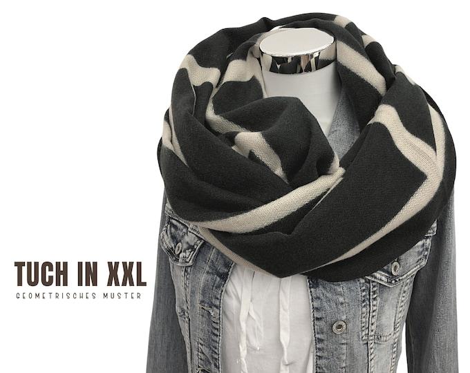 Large cloth | dark grey with beige | XXL scarf with geometric pattern
