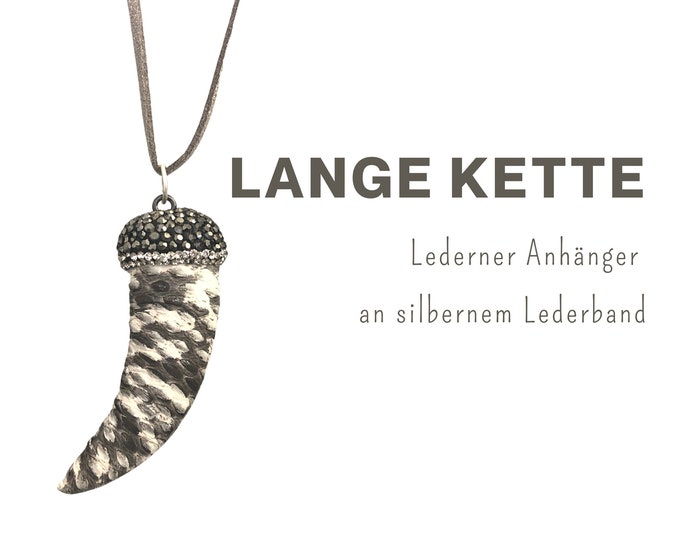 Long chain with leather pendant   Tooth   Snake leather   silver leather strap   Chain pendant with glitter in beige and grey   Mother's Day