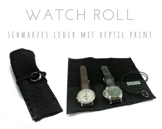 Black 3-Series Watch Roll | Reptile Print Leather | Gift Men | Watch bag | Travel Wristwatches Case | Watch roll | Leather Roll | Bag