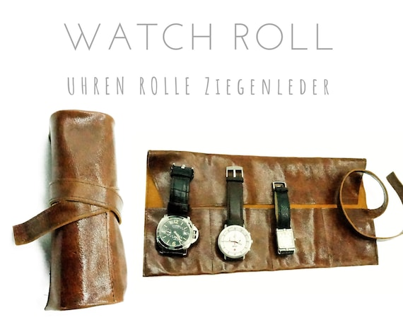 Brown 4er Watch Roll | Vintage Goat's leather | Gift for Men | Wristwatches Roll 4 watches | Travel Watches Storage | Watch roll leather