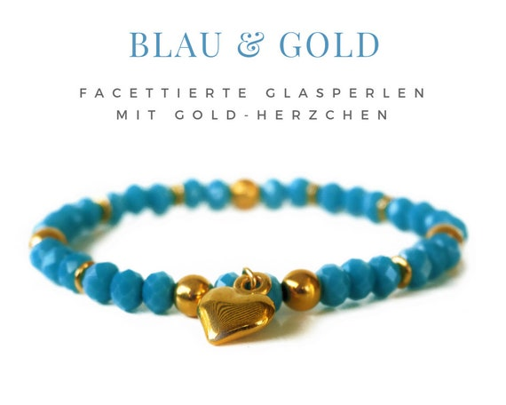 Blue bracelet with golden Heart | Glass beads | Elastic Bead Bracelet | Golden Heart | Trailer