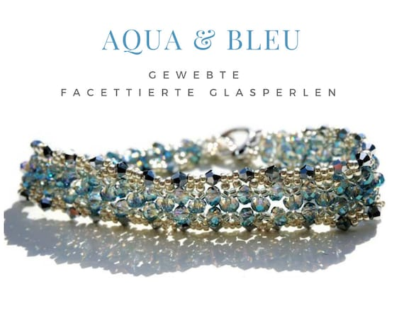 Woven Bracelet | Faceted Glass Beads | Aqua & Bleu | Faceted Beads | Light Blue | Silver | Gag Closure | Pearl Bracelet