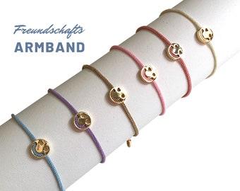 SMILEY | Friendship Bracelet | Ribbons for pulling | golden smiley | Children's bracelet | Gift Enrollment