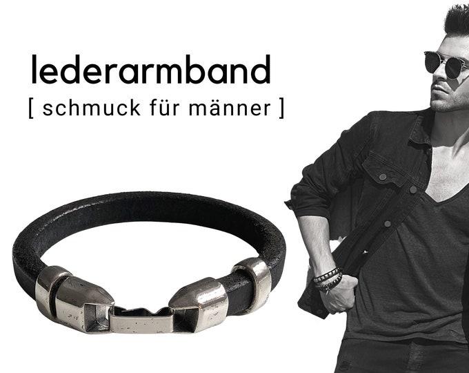 Black leather bracelet for men   silver-plated elements   Magnetic closure   Men's bracelet   Gift Valentine's Day