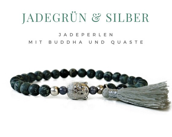 Grey green jade bracelet with silver Buddha and tassel | Jade | silver-plated Buddha Head | Elastic pearl bracelet | Pearls Jewelry Yoga