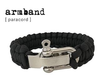 Paracord Bracelet | silver shackle closure | Survivor Style | Outdoor | Men's Bracelet | black