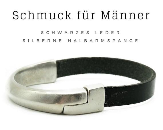 Bracelet for Men | Black leather strap with cervical brace | Magnetic closure | Male jewellery | Men's bracelet | Leather | Leather