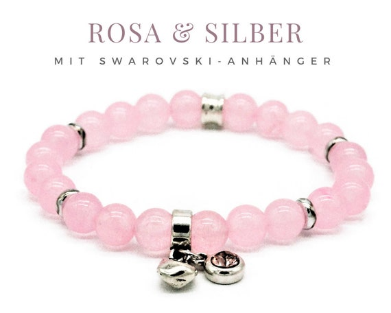 Elastic Bracelet | Pink & Silver | Rose Quartz Beads | Pink Crystal | Swarovski Pendants | Silver Beads | Elastic bracelet