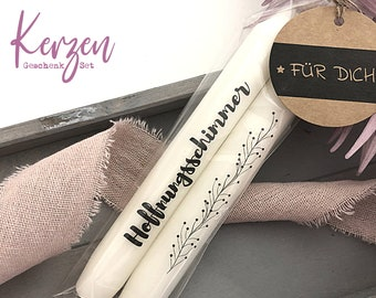 | candles with message | two stick candles A glimmer of hope | Comfort | black and white | incl. trailer card | Statement Candles