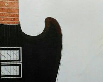 Original drawing of 7 string guitar in ballpoint pen.