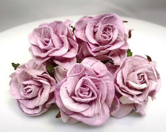 10 pcs. Large sweet lilac mulberry Roses paper flowers Craft Handmade Wedding 40 mm Scrapbook #188