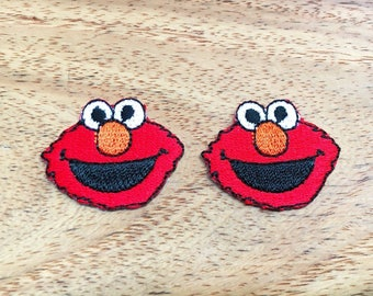 Set of 2 pcs Mini Little Red COOKIE MONSTER Iron on Sew Embroidered Patch