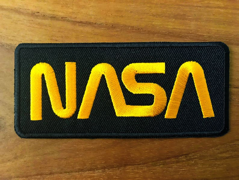 Nasa Logo Black Yellow Color Embroidered Iron On Patch