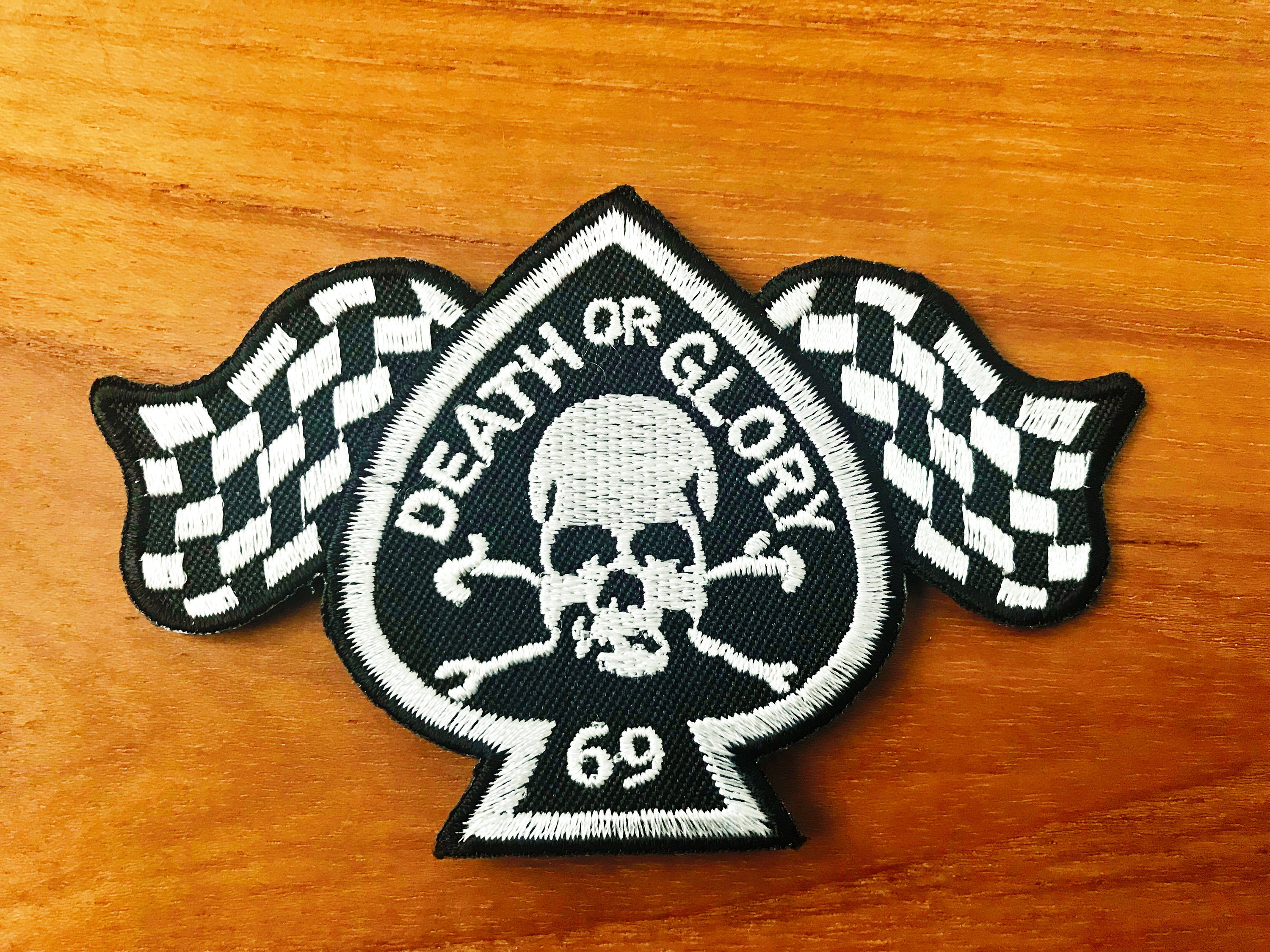 Set 2 pcs Iron On Patch Embroidered 69 Sign Checkered Flag Background New Sew