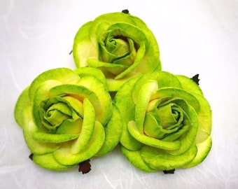 5 pcs. 50mm/2 inches two tones Green mulberry paper roses - paper flowers #1