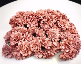 50 pcs. red mauve  gypsophila flowers mulberry paper for Crafts 20 mm. #106