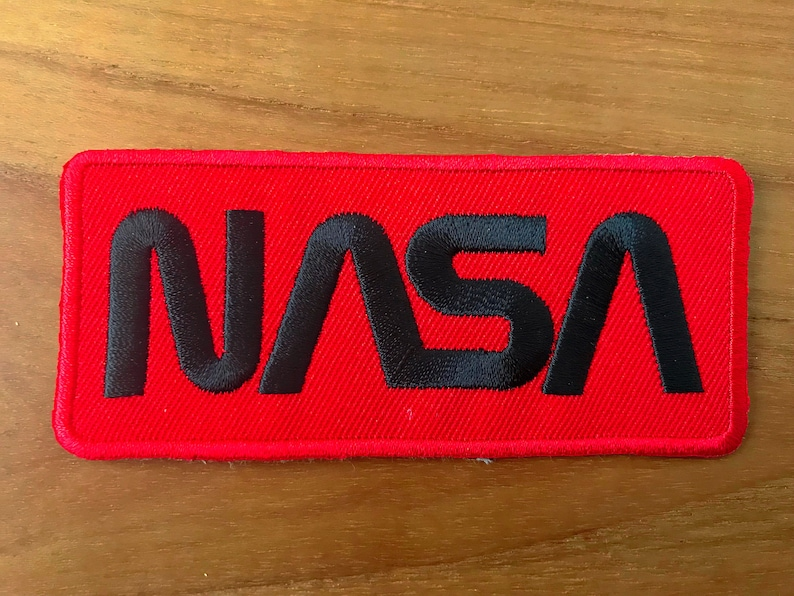 Nasa Logo Black Red Color Embroidered Iron On Patch