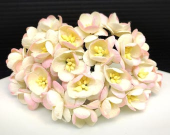 cream pale pink Cherry Blossoms flowers mulberry paper for Crafts 2.5 cm. #321