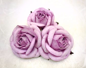 5 pcs. 50mm/2 inches sweet lilac mulberry paper roses - paper flowers with wire stems #188