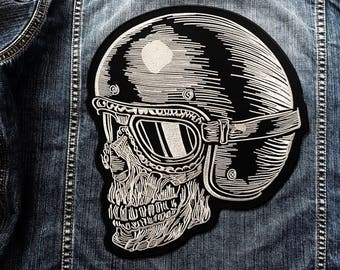 LARGE SIZE Skull Full Head Helmet Goggle Biker Ride Motorcycle Sew Iron on Patch