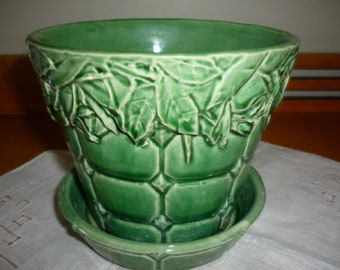 Vintage McCoy Green Planter Pot with quilted rectangular ,flowers and leaves designs,saucer attached 1950 #2963