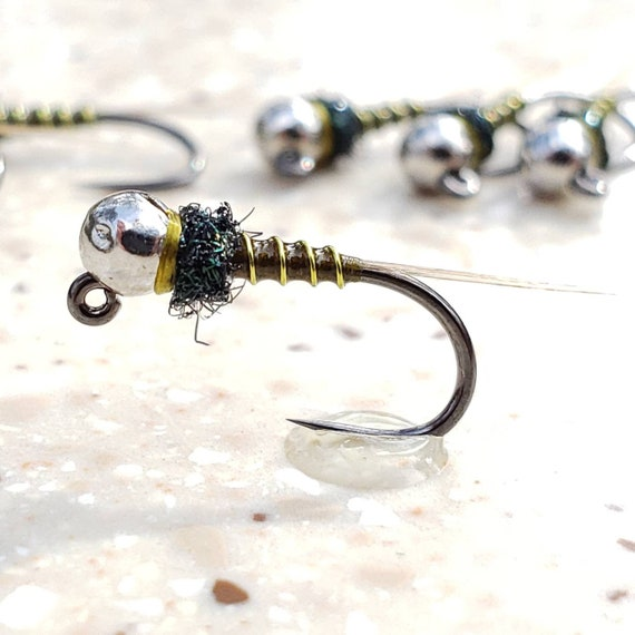 Euro nymph Tungsten Bead Size 16 Iron Lotus Jig Head Fly 6 Flies