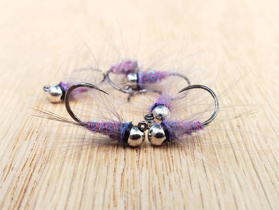 6 - Duracel Tungsten Euro Jig Nymphs - hanak hooks  custom dubbing blend   trout flies  UV  barbless  handmade