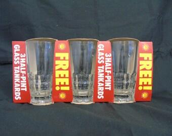 "3 vintage ""Esso promotion"" half pint glass tankards (ravenhead)"