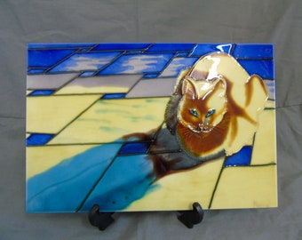 large hand painted tile