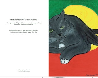 Grey Cat Greeting Card Cat-Art-Cat-Lover-Card-Vegan-Cat-Lover-Cute-Crazy Cat Lover-Roman Rescue Cat -Cat Sympathy Card-Fine Art Card
