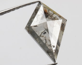 0.66 CT 8.9 X 6.9 MM Salt and Pepper Diamond Kite Shape Natural Loose Diamond Grey color R6901