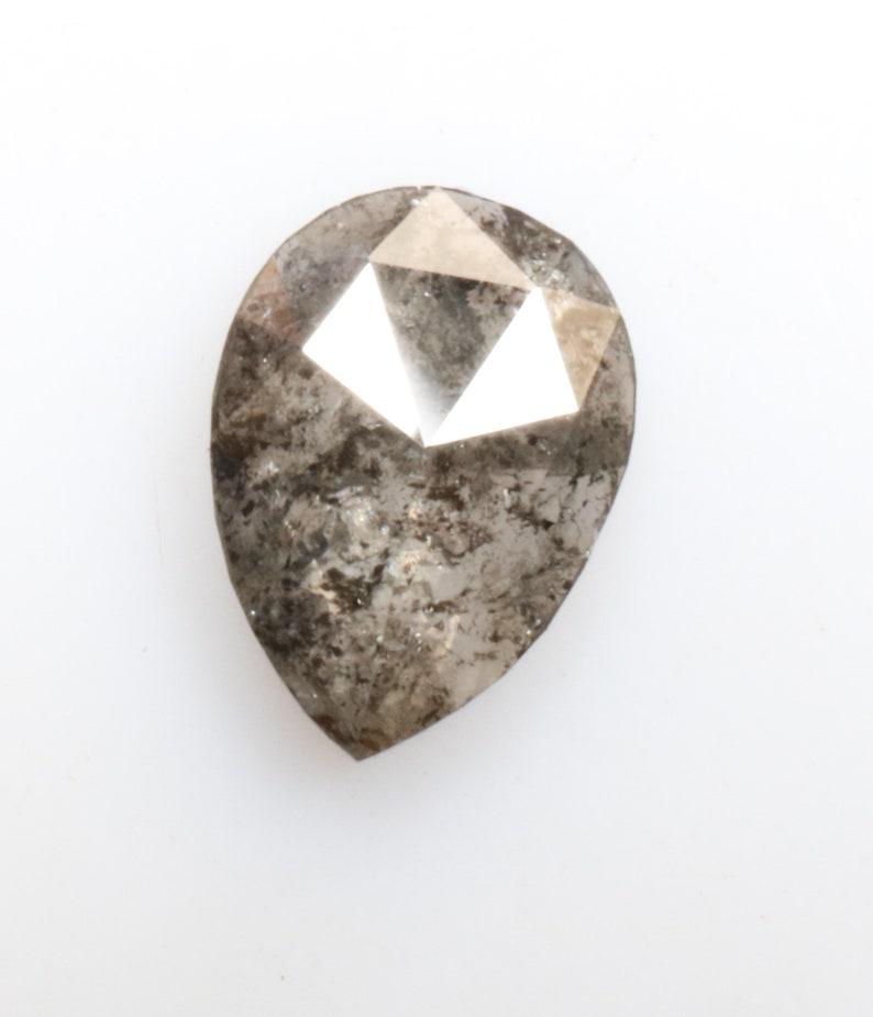 0.79 ct 7.6 x 5.6 mm Natural loose Salt and pepper fancy Black colour beautiful Pear shape Diamond R2935
