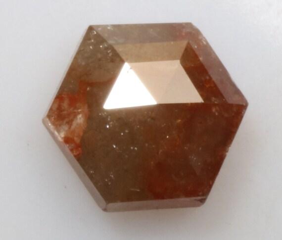 0,82 ct 5,8 X X X 5,2 mm naturel vrac brun couleur belle forme Hexagone Diamond R1337 11d2c9
