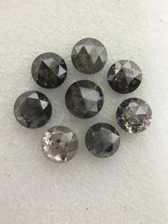 1,89 ct 3,3 mm à 3,7 mm de couleur naturelle naturelle couleur vrac Mix noir gris magnifique diamant taille rose rond 8pcs R1052 09c621