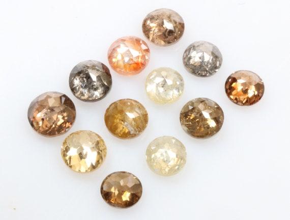 1,81 ct 3,0 mm à 3,7 mm vrac ronde beau Mix couleur naturelle ronde vrac forme Tambulicut Rosecut 12pcs diamant R1383 a0b252
